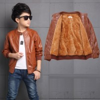 CC0018 Children Leather Winter Coat Plus Velvet Thick Jacket