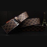 MTB0002D New Creative Plaid Toothless Automatic Buckle PU Leather Belt