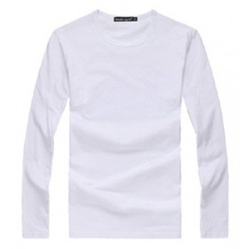 MS0026D Korean Round Neck Solid Color Long-Sleeved Slim Men's Shirt