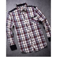 MS0030D New Casual Men's Long-Sleeved Plaid Shirt