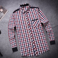 MS0031D New Casual Men's Long-Sleeved Plaid Shirt