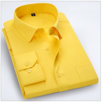 MS0035D Men's Business Solid Colour Long-Sleeved Shirt