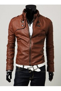 MS0039D Korean Men Slim Casual Motorcycle PU Leather Jacket