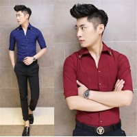 MS0074D New Korean Slim Sleeve Shirt