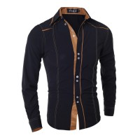 MS0075D New Features Korean Slim Men's Long-Sleeved Shirt