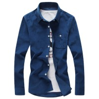 MS0078D Korean New Solid Color Corduroy Long-Sleeved Slim Shirt