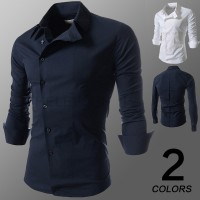 MS0079D Men's Fashion Oblique Buckle Long Sleeve Shirt