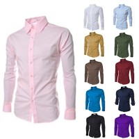 MS0080D New Korean Fashion  Solid Color Slim Casual Long-Sleeved Shirt