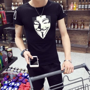 MS0081D Korean Slim Face Mask Printing Casual Short-Sleeved T-Shirt