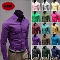 MS0087D Korean Men's Casual Solid Color Slim Long-Sleeved Shirt