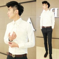 MS0089D New Korean Slim Casual Long-Sleeved Shirt