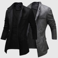 MS0096D Korea Concealed Placket Collar Single-Breasted Button Coat