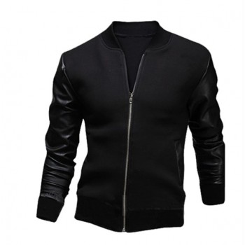 MS0097D Korea Sleeve Stitching PU Leather Jacket Coat