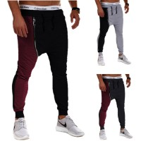 MS0122D Fashion Oblique Zipper Casual Sports Harem Pants