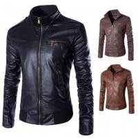 MS0126D Korean Slim Collar PU Leather Motorcycle Casual Jacket