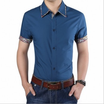 MS0133D Korean Casual Cotton Slim Short-Sleeved Shirt