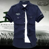 MS0134D Slim Cotton Casual Short-Sleeved Army Shirt