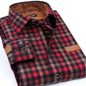 MS0135D Autumn Plaid Long-Sleeved Shirt
