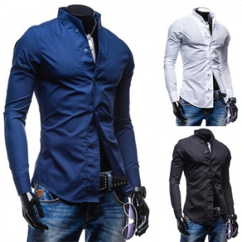MS0141D Men's Slim Casual Long-Sleeved Shirt