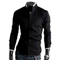 MS0145D Features Collar Men Cultivating Cotton Long-Sleeved Shirt