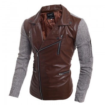 MS0149D Korean Men Slim Zipper PU Leather Jacket