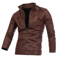 MS0158D New Double Zipper PU Leather Motorcycle Jacket