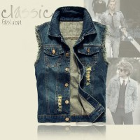 MS0163D Korean Fashion Slim Denim Vest Jacket
