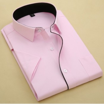 MS0165D Summer Solid Color Short-Sleeved Slim Shirt