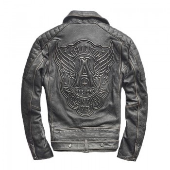 MS0170D Men's Retro Slim Leather Motorcycle Jacket
