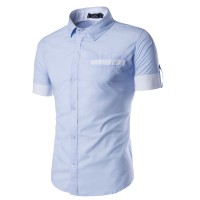 MS0173D New Men's Cuffs Flanging Short-Sleeved Shirt