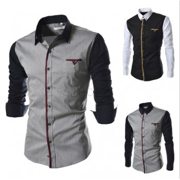 MS0172D Men's Slim Stitching Casual Long-Sleeved Shirt