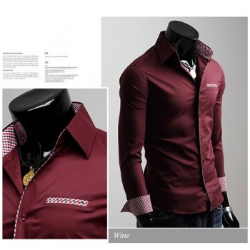 MS0179D New Korean Men's Casual Slim Long Sleeve Shirt