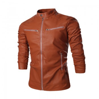 MS0180D New Solid Color Casual Men's Zipper Leather Jacket