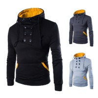 MS0183D Slim Stylish Double-Breasted Hooded Sweater Coat
