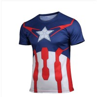 MS0184D Avengers Tights Short-Sleeved Sports Fitness T-Shirts