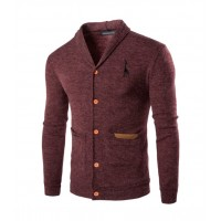 MS0186D Men's Fashion Casual Solid Color Cardigan Sweater