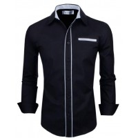 MS0188D Korea Men's Solid Long-Sleeved Shirt
