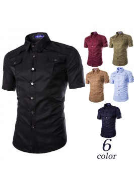 MS0189D Men's Casual Plaid Slim Short-Sleeved Shirts