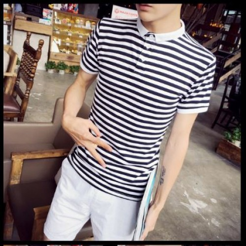 Ms0207 New Korean Men Striped Short Sleeved T Shirt