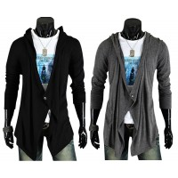 MS0212 Korea Tide Personality Cardigan Hooded Men Sweater