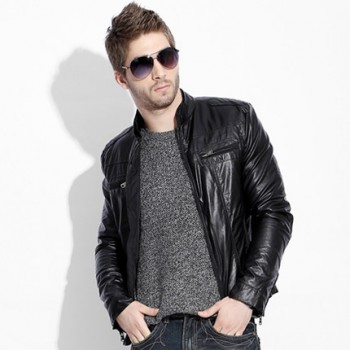 MS0229 Korean Men's Casual PU Leather Jacket