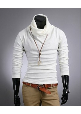 MS0238 Men's High Collar Long-Sleeved Slim T-shirt