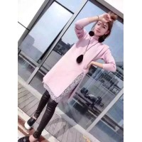 WS0002  New Korean Women's Lace Stitching Knit Dress