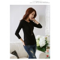WS0003  New Korean Round Neck Solid Color Long-Sleeved T-Shirt
