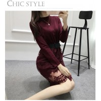 WS0004  New Korean Women Lace Knit Long-Sleeved Bottoming Dress