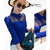 WS0005 New Korean Doll Collar Knit Lace Long-Sleeved Shirts