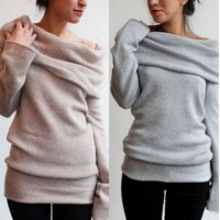 WS0016 New Europe Slim Solid Color Long-Sleeved Sweater
