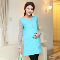WS0030D Korean Spring Pregnant Women Dress Long-Sleeved Shirt