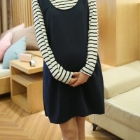 WS0033 Pregnant Women Long-Sleeved T-Shirt Maternity Dress