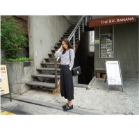 WS0073D Spring Chiffon High Waist Straight Pants